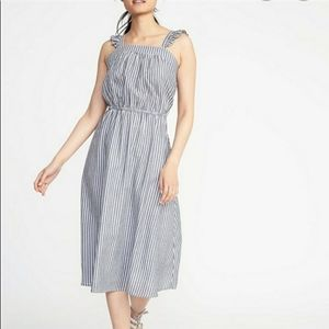 Old navy stripes flutter sleeve midi dress